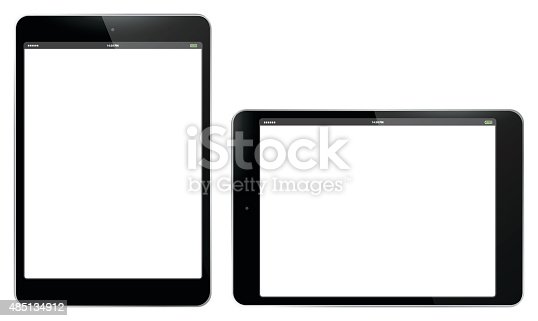 Tablet PC Vertical and Horizontal Vector Illustration.  Easy editable, Eps 10.
