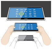 Tablet PC viewing Application icons - Front on view