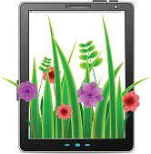 Tablet PC with flowers