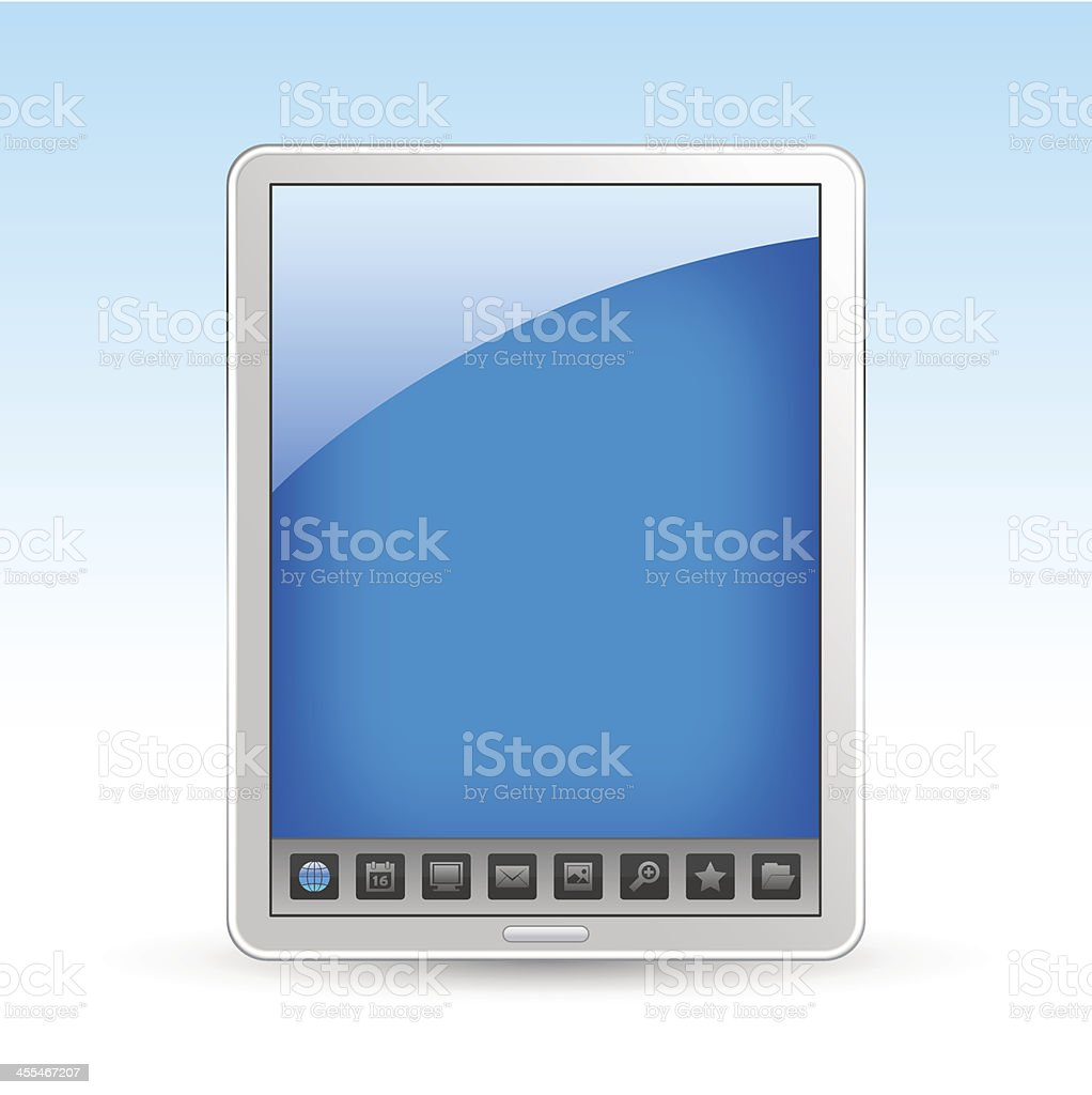 Tablet PC with icon bar royalty-free stock vector art