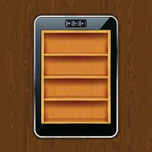 High-detailed vector illustration of Tablet PC with wooden bookshelves that could be used for application interfaces. Illustration contains transparency. EPS 10