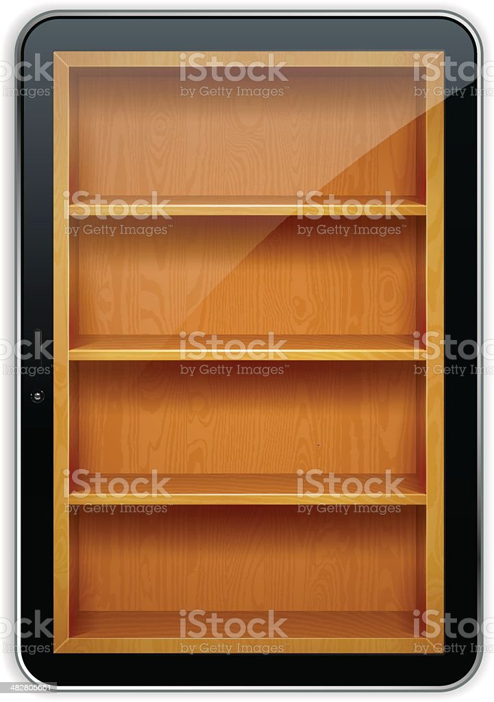 Tablet PC with wooden bookshelves royalty-free stock vector art
