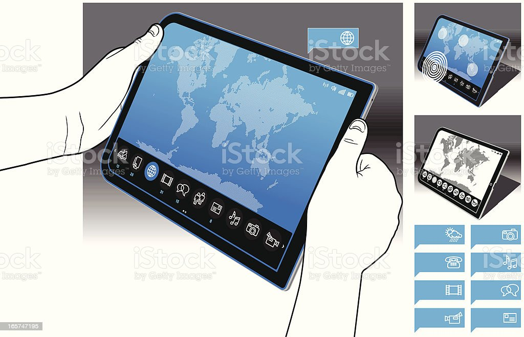 Tablet PC - World Map Interface royalty-free stock vector art