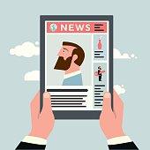 Vector illustration of man reading news on a tablet