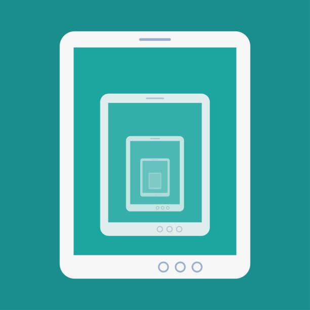 tablette rekursion flache symbol - tablet mit displayinhalt stock-grafiken, -clipart, -cartoons und -symbole