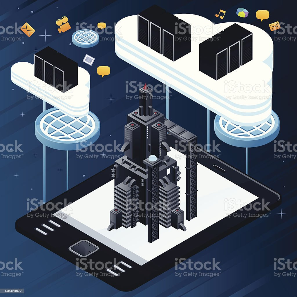 Tablet, rocket and clouds royalty-free tablet rocket and clouds stock vector art & more images of cloud computing