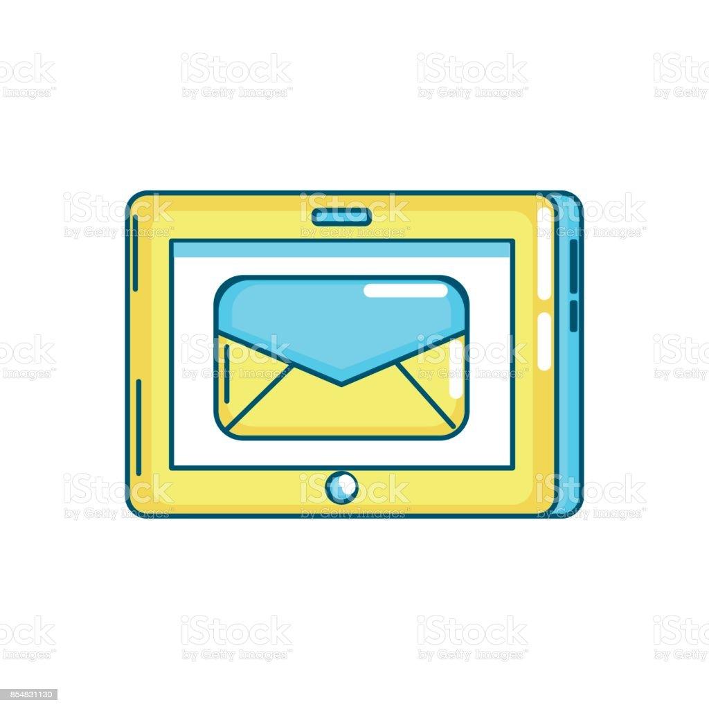 tecnología de la tableta con el mensaje de correo electrónico ilustración  de tecnología de la tableta