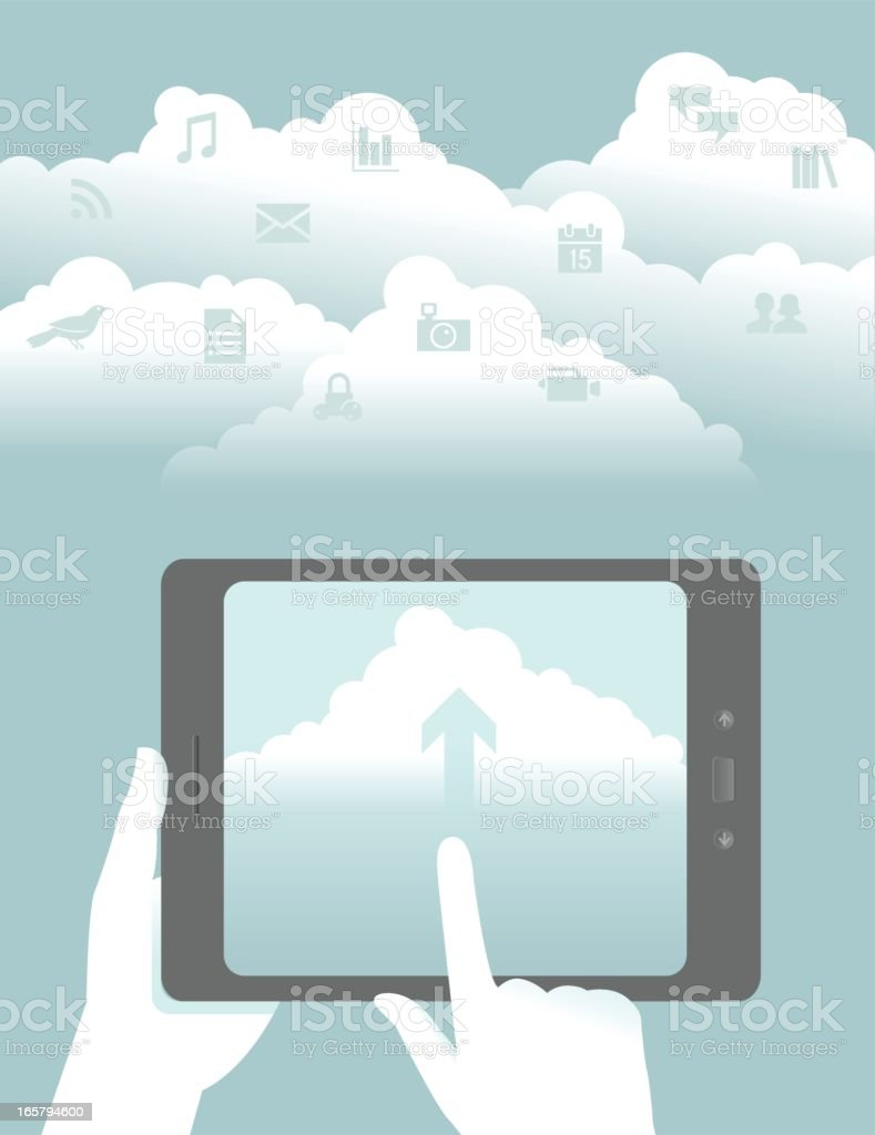 Tablet Upload to the Cloud royalty-free stock vector art