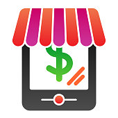 Tablet web shop flat icon. Online shopping color icons in trendy flat style. Online store gradient style design, designed for web and app. Eps 10