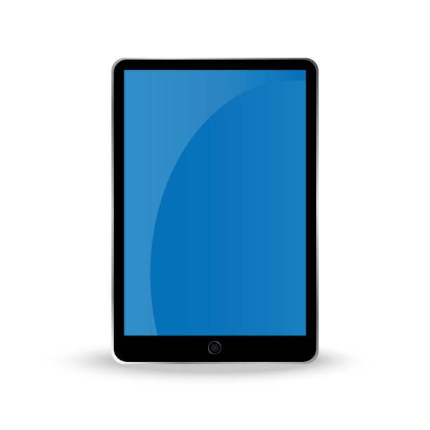 stockillustraties, clipart, cartoons en iconen met tablet met een blauw scherm. vectorillustratie. - green screen
