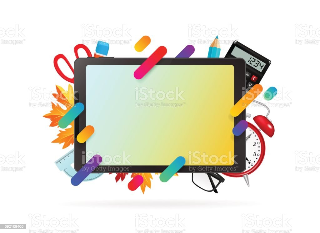 trendy office supplies. Tablet With Office Supplies, Trendy Gradient Shapes Royalty-free Stock Vector Art Supplies