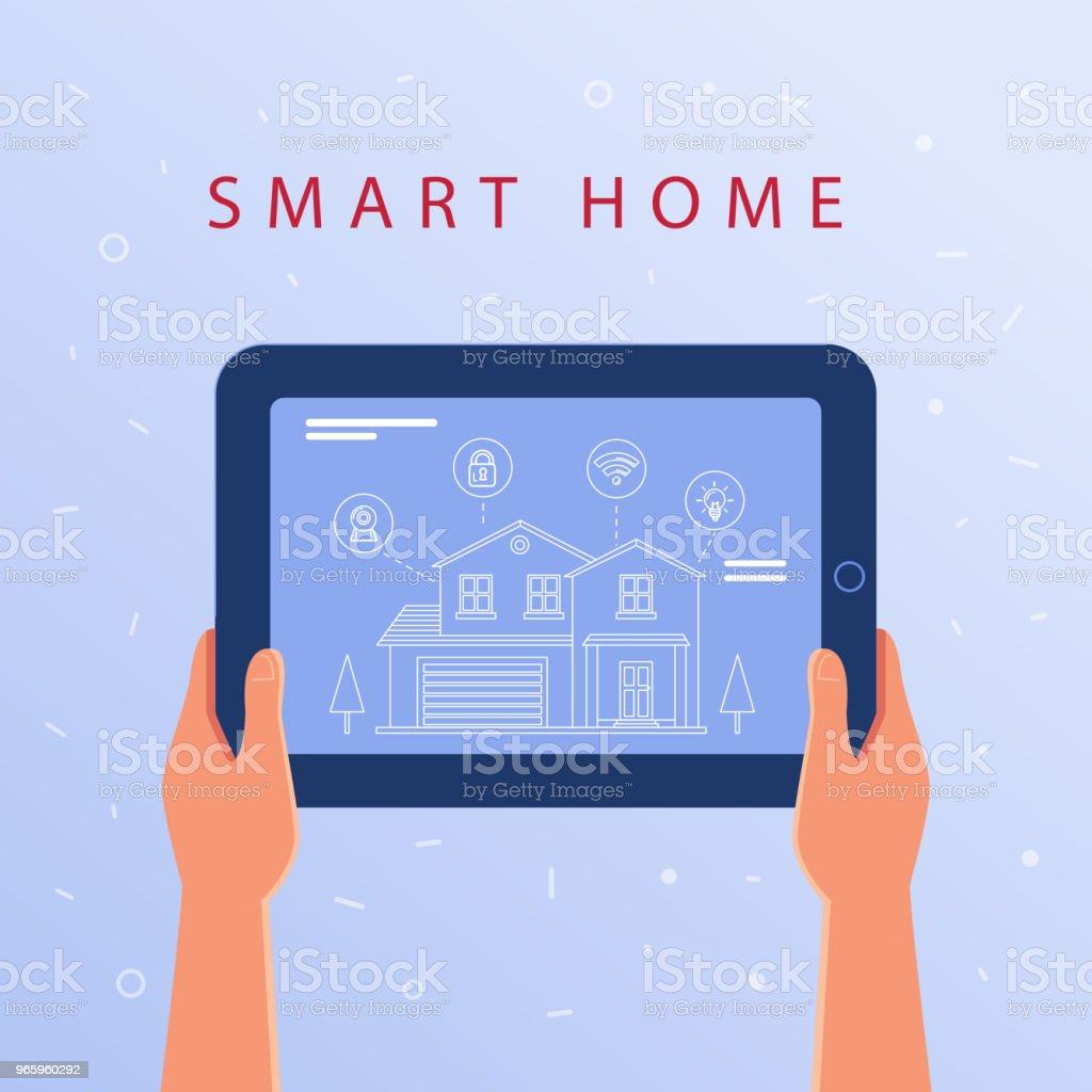 Ein Tablet mit smart home Einstellungen und Controller-system - Lizenzfrei Ausrüstung und Geräte Vektorgrafik