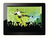 Tablet with soccer player