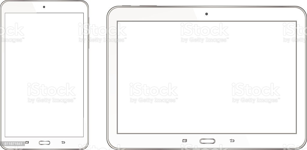 Tablet with white screen vector art illustration