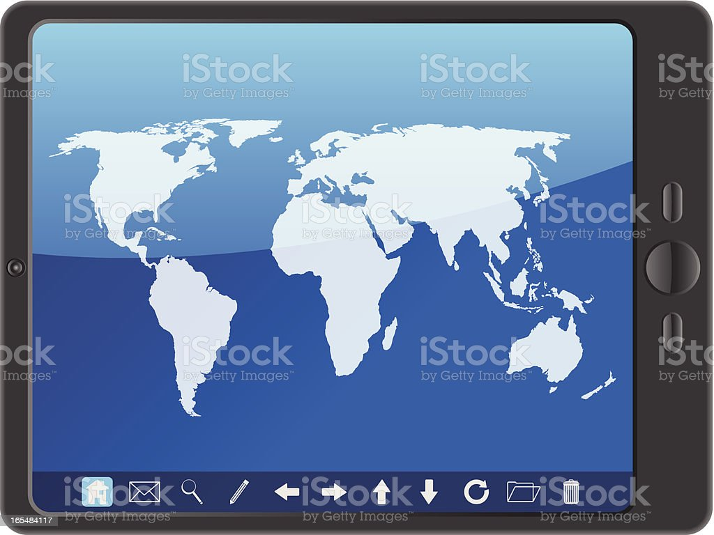 PC tablet with world map royalty-free stock vector art
