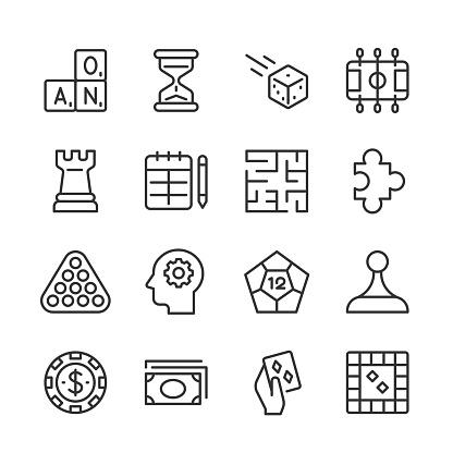 Tabletop Games Icons 2 — Monoline Series