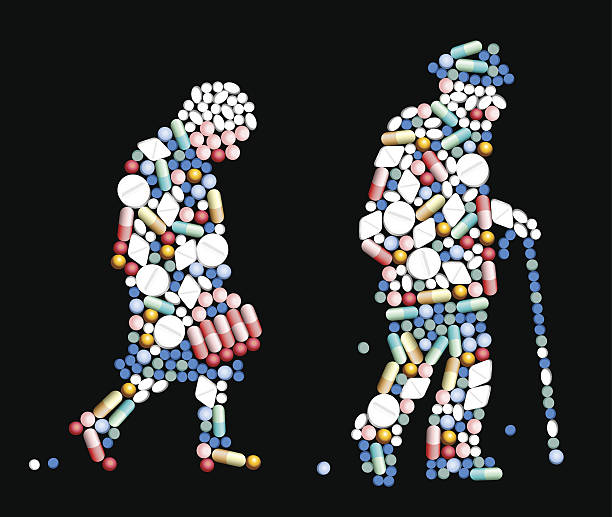 tablets pills old people - old man in black stock illustrations, clip art, cartoons, & icons