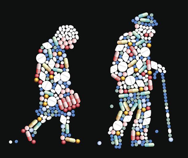 ilustraciones, imágenes clip art, dibujos animados e iconos de stock de comprimidos pastillas old personas - geriatría