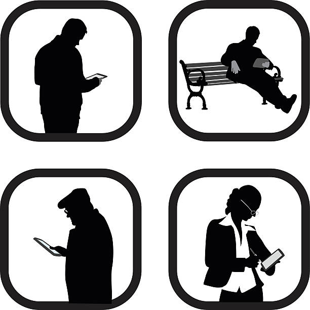 tabletseverywhere - old man computer silhouette stock illustrations, clip art, cartoons, & icons