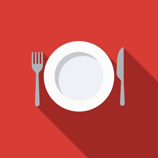 stockillustraties, clipart, cartoons en iconen met tafelgerei plat design keuken gebruiksvoorwerp pictogram - gedekte tafel