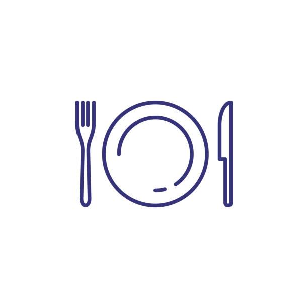 geschirr-linie-symbol - tafelbesteck stock-grafiken, -clipart, -cartoons und -symbole