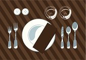 Rules for the layout of cutlery on the table. Background on separate layer.