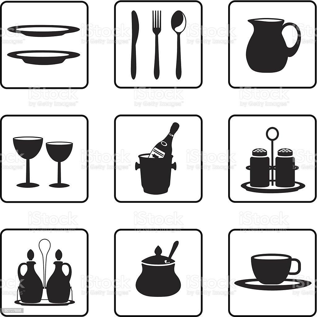 Tableware royalty-free tableware stock vector art & more images of black color