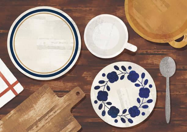 stockillustraties, clipart, cartoons en iconen met serviesaquarel - breakfast table