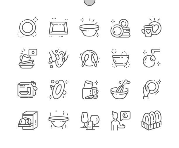 ilustrações de stock, clip art, desenhos animados e ícones de tableware well-crafted pixel perfect vector thin line icons 30 2x grid for web graphics and apps. simple minimal pictogram - loiça