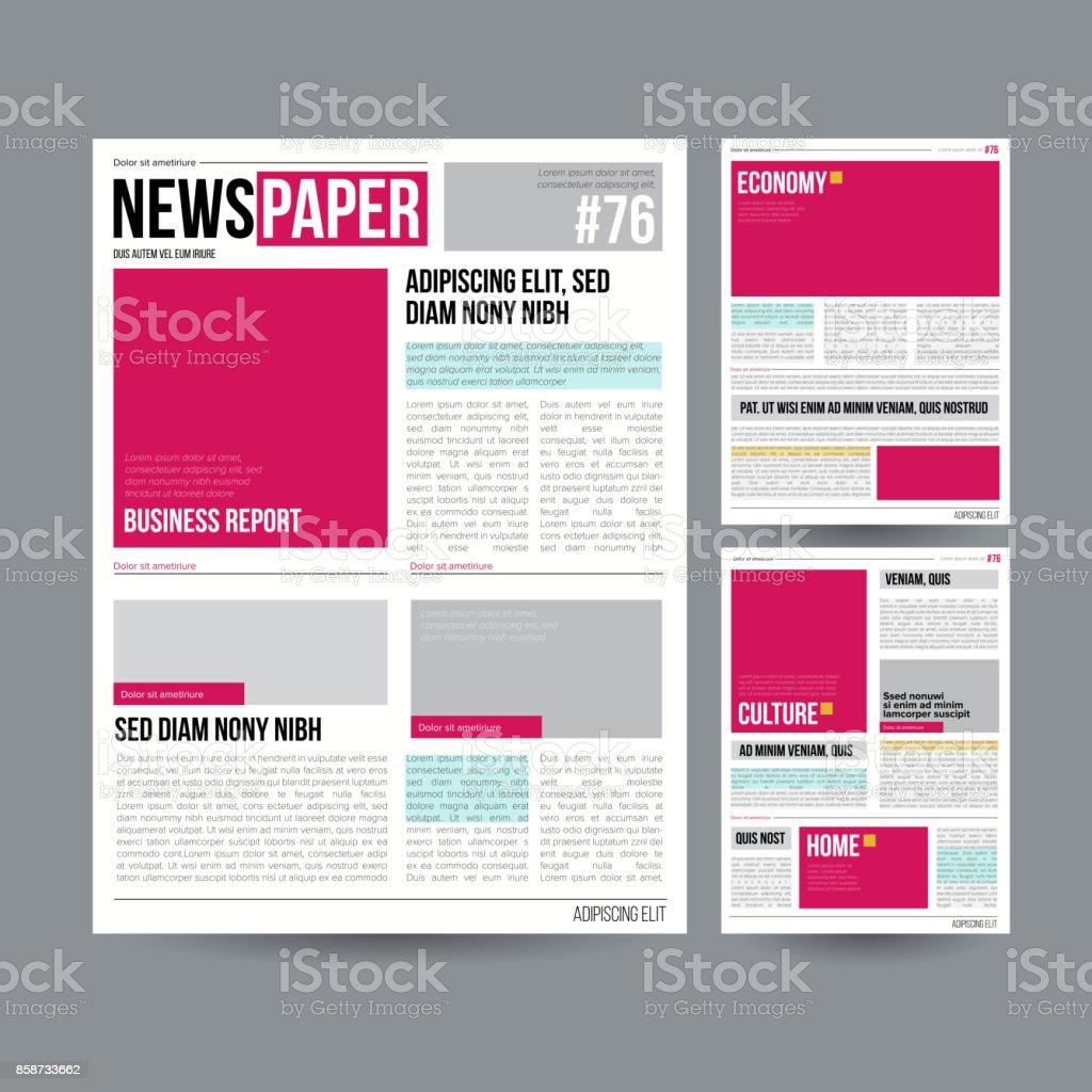 Tabloid Periódico Diseño Plantilla Vector Imágenes Artículos ...