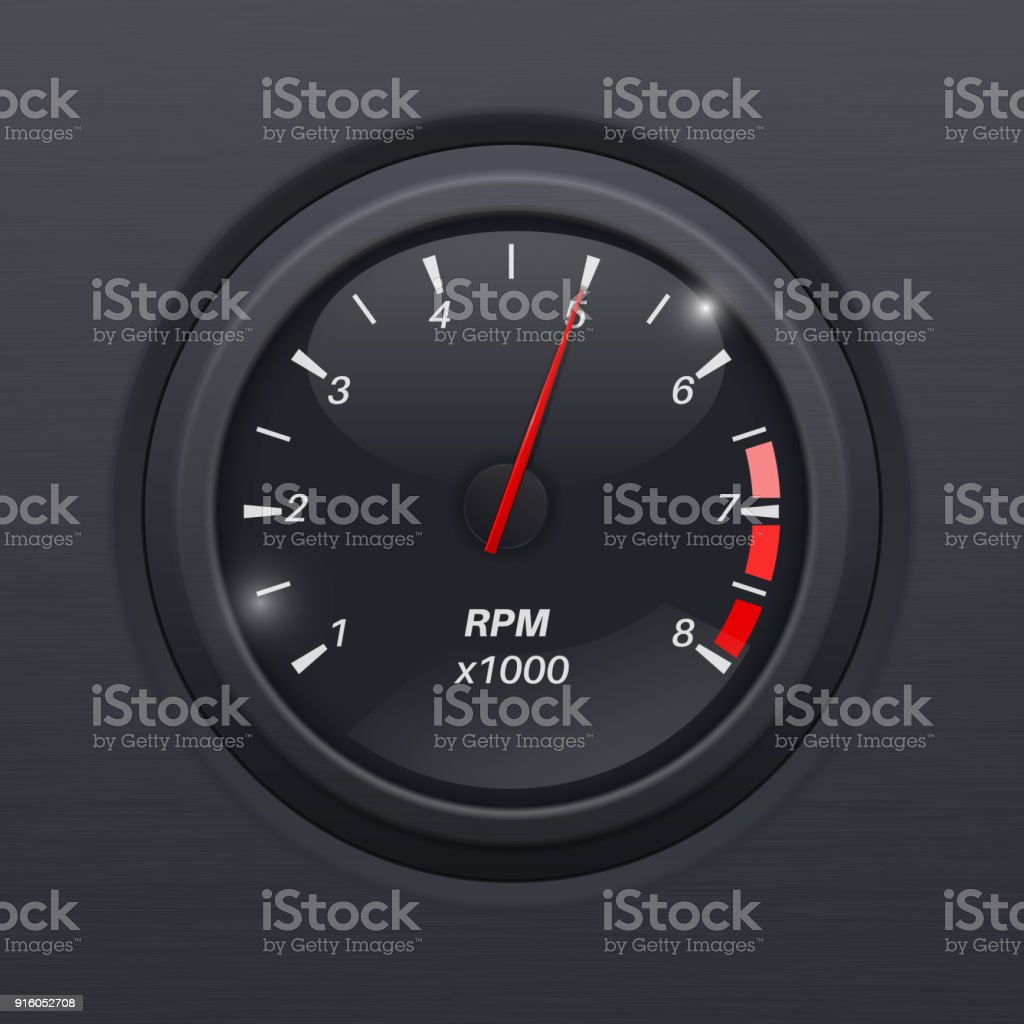Tachometer Black Gauge Classic Car Computer Dashboard Stock