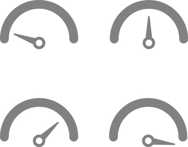 tachometer icon in different directions tachometer icon in different directions. Different speed symbol dial stock illustrations