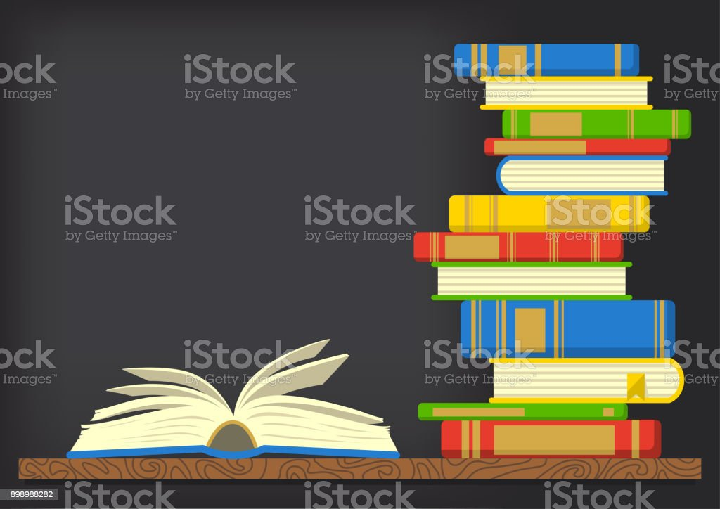 tack of books with open book on dark background. vector art illustration