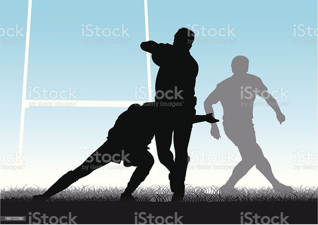 Tackling rugby players royalty-free stock vector art