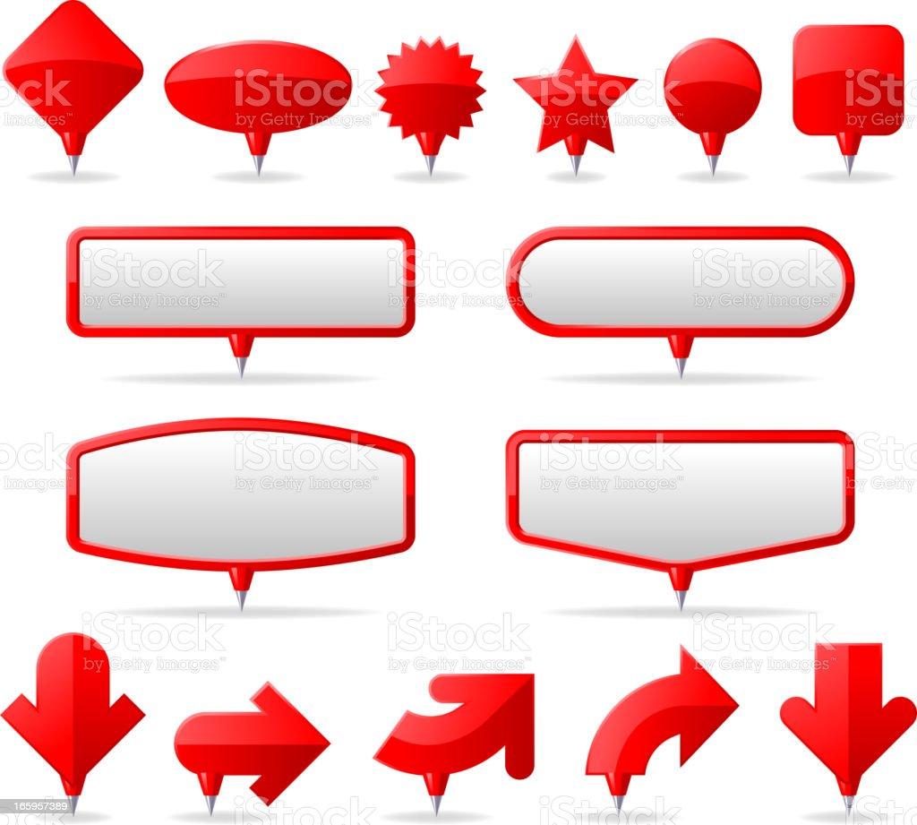 Tacks and Pins vector art illustration