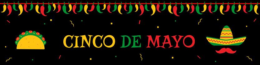 Taco and sombrero cinco de mayo event web banner
