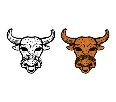 Taco buffalo or bull is a cute and funny cartoon character.
