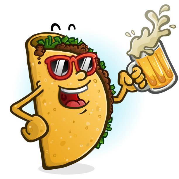 taco cartoon charakter trinkbier - chimichanga stock-grafiken, -clipart, -cartoons und -symbole