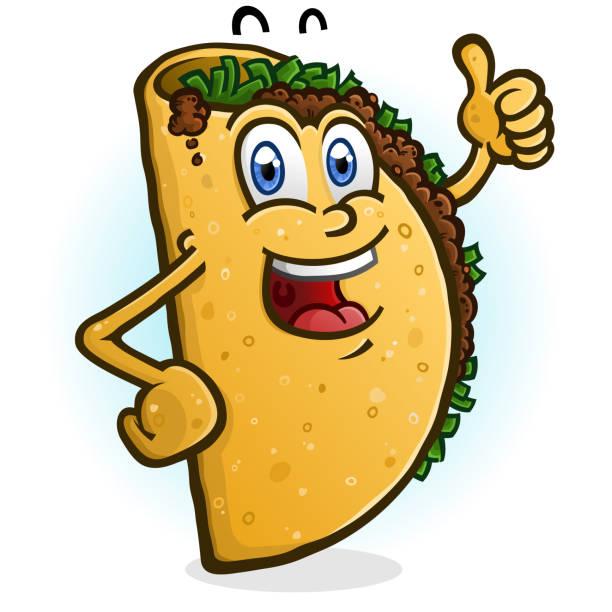 taco cartoon charakter gibt einen daumen hoch - chimichanga stock-grafiken, -clipart, -cartoons und -symbole