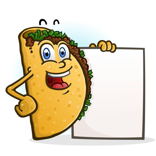 taco cartoon character holding ein zeichen - chimichanga stock-grafiken, -clipart, -cartoons und -symbole