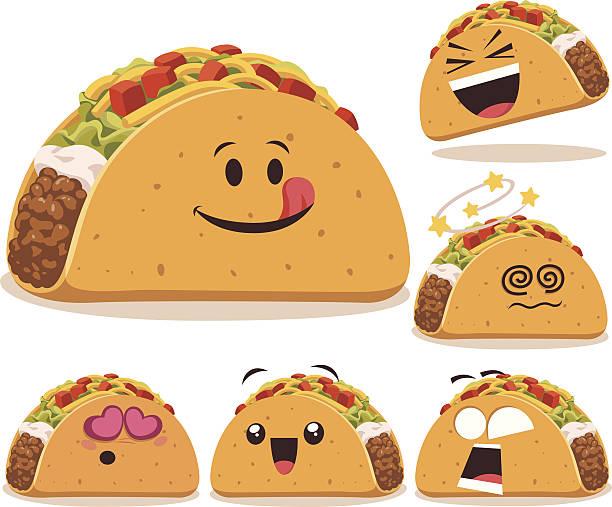 taco comic ein - tortillas stock-grafiken, -clipart, -cartoons und -symbole