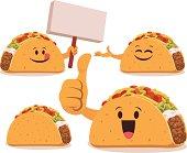 Cartoon taco set including: