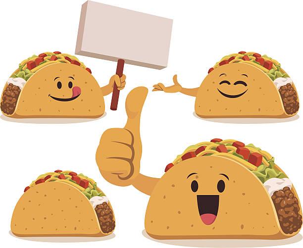 taco cartoon set c - tortillas stock-grafiken, -clipart, -cartoons und -symbole