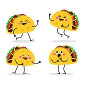 istock Taco. Cute fast food vector character set. 1205934617