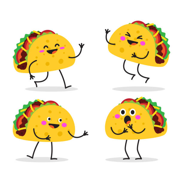 Taco. Cute fast food vector character set. Taco. Cute fast food character set. Taco Tuesday. Taco mexican food. Vector illustration isolated on white background. taco stock illustrations