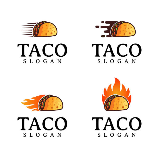 taco   design vector, fast food, restaurant and cafe symbol - food delivery stock illustrations