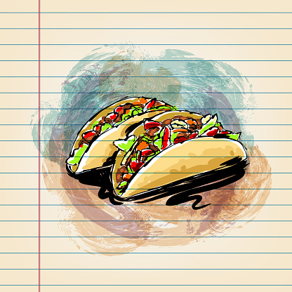 Taco Drawing on Ruled Paper