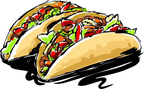 taco drawing - taco stock illustrations, clip art, cartoons, & icons