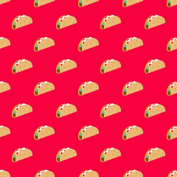 taco fast food seamless pattern - taco stock illustrations, clip art, cartoons, & icons