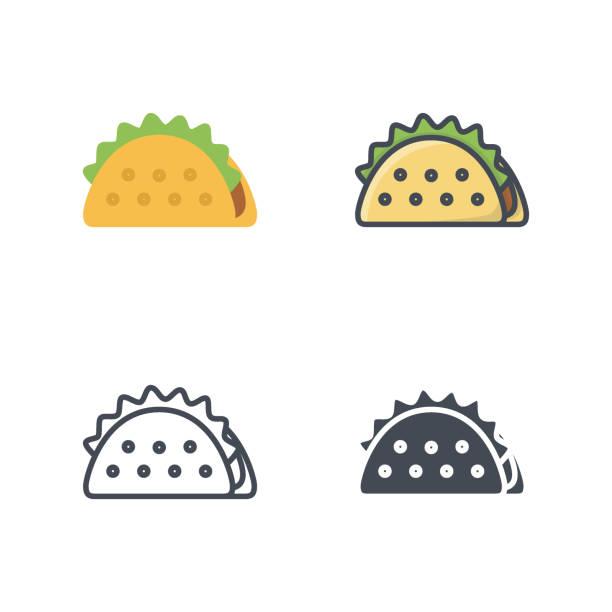 taco fastfood vektor icon flache linie silhouette farbig - lachskuchen stock-grafiken, -clipart, -cartoons und -symbole